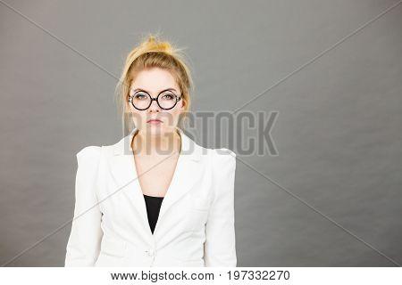 Bored Focused College Woman Teacher Wearing Eyeglasses