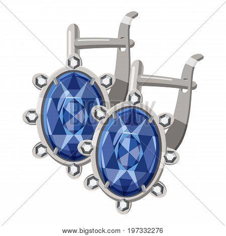 Earrings with diamonds icon. Cartoon illustration of earrings with diamonds vector icon for web design