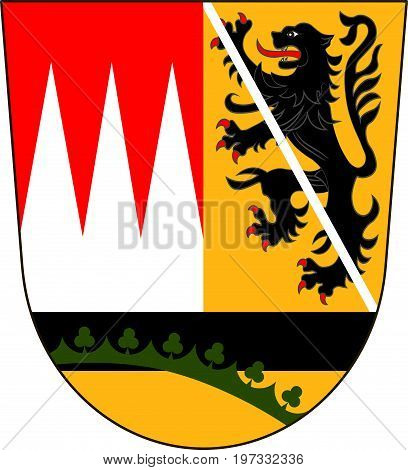 Coat of arms of Hasberge is a district in Lower Franconia of Bavaria Germany. Vector illustration from the