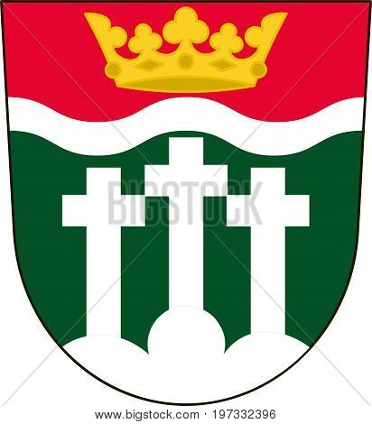 Coat of arms of Rhon-Grabfeld is a district in Lower Franconia of Bavaria Germany. Vector illustration from the