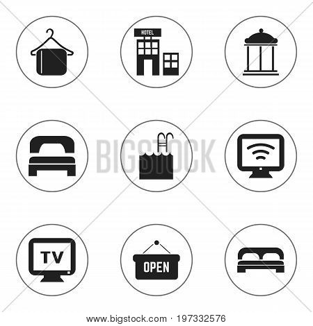 Set Of 9 Editable Motel Icons. Includes Symbols Such As Bed, Pool, Sleeping And More