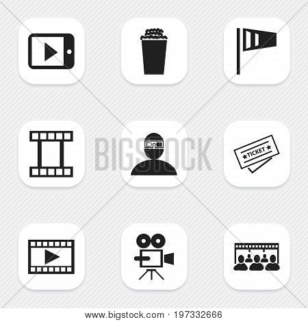 Set Of 9 Editable Filming Icons. Includes Symbols Such As Spectator, Popcorn, Filmstrip And More