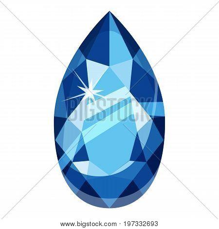 Drop shaped gemstone icon. Cartoon illustration of drop shaped gemstone vector icon for web design