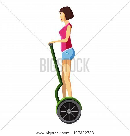 Woman riding electric scooter icon. Cartoon illustration of woman riding electric scooter vector icon for web design