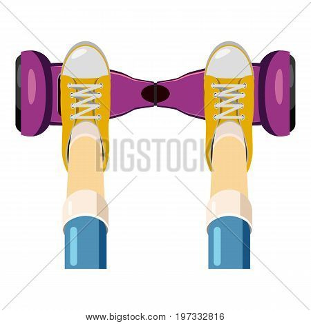 Person over a self balancing board icon. Cartoon illustration of self balancing board vector icon for web design