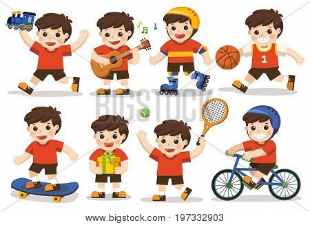 Isolated vector. activity set of a kid: A cute boy playing with toys. Playing sport including basketball athletic tennis bicycle skate rolling. Playing guitar and singing happily. Holding present.