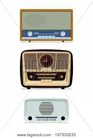 Radio retro set. Old Radio. Illustration of an old radio receiver of the last century. Vector illustration.