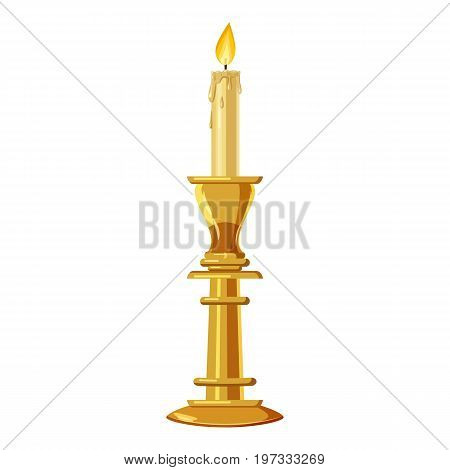 Candle in a candlestick icon. Cartoon illustration of candle vector icon for web design