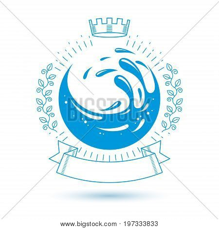 Ocean freshness theme vector symbol for use in spa and resort organizations. Mineral water advertising. Environment protection concept.
