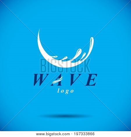 Pure aqua ecology vector symbol. Human water consumption theme. Body cleansing concept.
