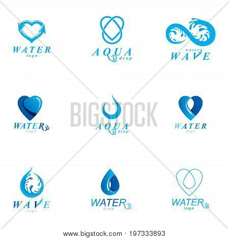 Global water circulation vector symbol for use in mineral water advertising. Alternative medicine concept.
