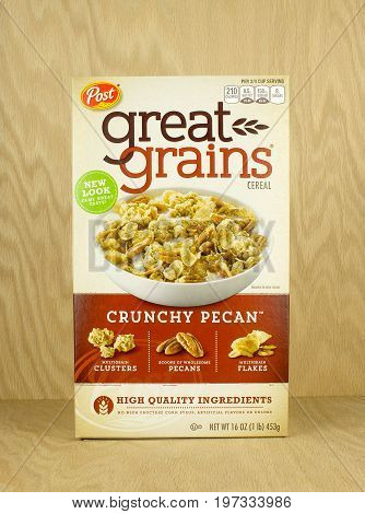 RIVER FALLS,WISCONSIN-JULY 28,2017: A box of Post brand Great Grains cereal with a wood background.