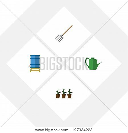 Flat Icon Farm Set Of Container, Hay Fork, Bailer And Other Vector Objects