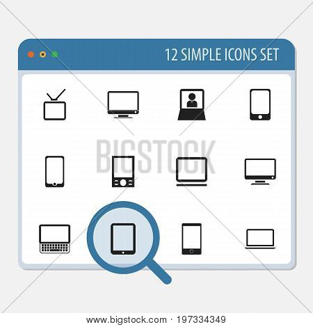 Set Of 12 Editable Devices Icons. Includes Symbols Such As Monitor, Telly, Tablet Phone And More