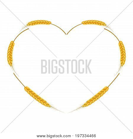 Wheat ears heart shaped frame icon. Cartoon illustration of wheat ears vector icon for web design