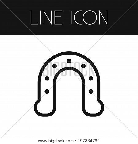 Horse Vector Element Can Be Used For Horseshoe, Metal, Shoe Design Concept.  Isolated Shoe Outline.