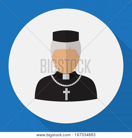 Vector Illustration Of Occupation Symbol On Priest Flat Icon