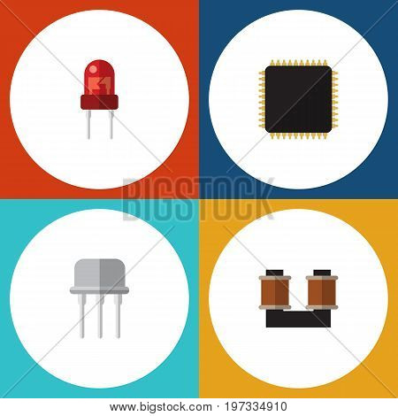 Flat Icon Device Set Of Resist, Coil Copper, Cpu And Other Vector Objects