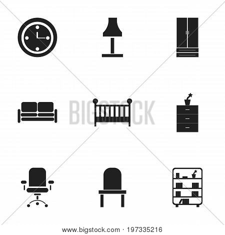 Set Of 9 Editable Furnishings Icons. Includes Symbols Such As Watch, Ergonomic Seat, Lectern And More