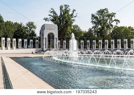 WASHINGTON, DC - JULY 12, 2017:  The World War II Memorial honors the 16 million who served in the armed forces, the more than 400,000 who died, and everyone who supported the war effort from home.