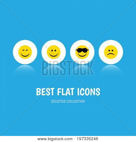 Flat Icon Gesture Set Of Happy, Joy, Smile And Other Vector Objects