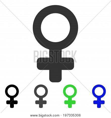 Female Symbol flat vector icon. Colored female symbol gray, black, blue, green icon versions. Flat icon style for application design.