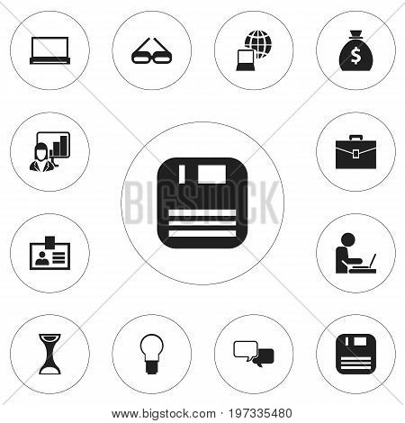 Set Of 12 Editable Bureau Icons. Includes Symbols Such As Worker In Laptop, Authentication, Light And More