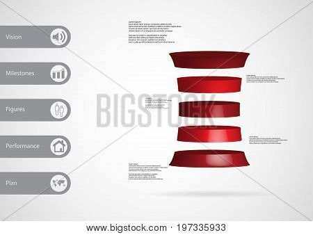3D Illustration Infographic Template With Deformed Cylinder Horizontally Divided To Five Red Slices