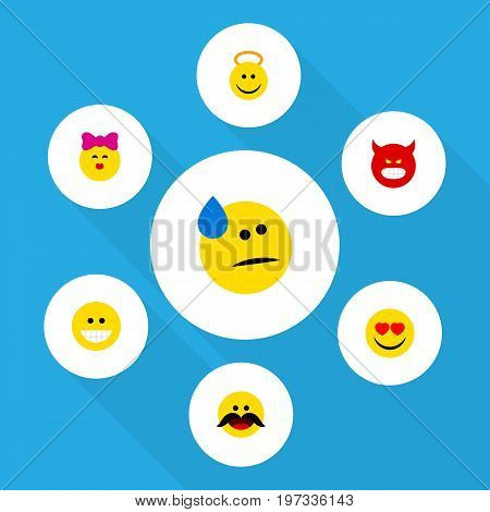 Flat Icon Emoji Set Of Pouting, Caress, Tears And Other Vector Objects