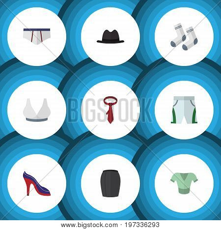 Flat Icon Dress Set Of Heeled Shoe, Underclothes, Trunks Cloth And Other Vector Objects