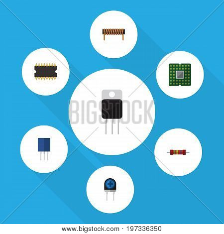 Flat Icon Technology Set Of Receptacle, Unit, Bobbin And Other Vector Objects