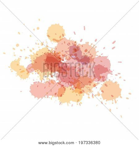 Watercolor splashes. Paint vector splat. Stains grunge texture. Isolated on white background. Light holographic colors