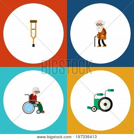 Flat Icon Cripple Set Of Stand, Ancestor, Equipment Vector Objects
