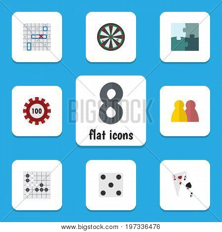Flat Icon Entertainment Set Of Jigsaw, Gomoku, People And Other Vector Objects