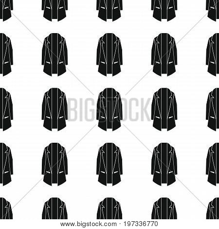 Coat seamless pattern vector illustration background. Black silhouette coat stylish texture. Repeating coat seamless pattern background for clothes design and web