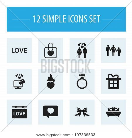 Set Of 12 Editable Heart Icons. Includes Symbols Such As Love Message, Love, Lineage And More
