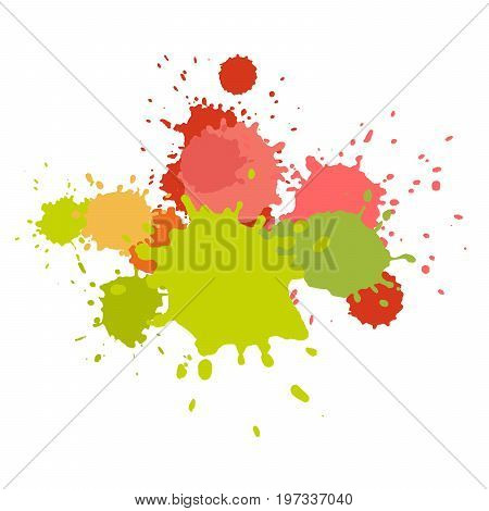 Watercolor splashes. Paint vector splat. Stains grunge texture. Isolated on white background. Pink and green colors