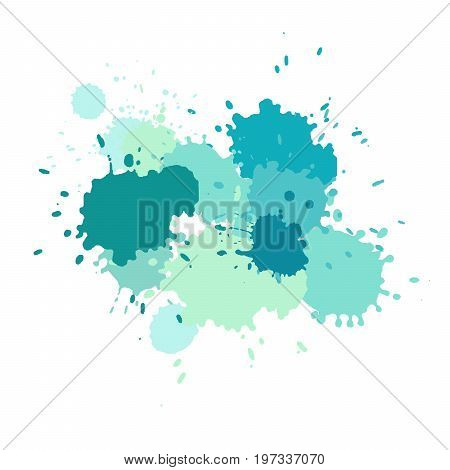 Watercolor splashes. Paint vector splat. Stains grunge texture. Isolated on white background. Blue green and turquoise colors