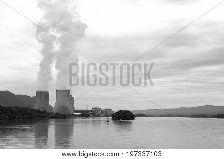 Nuclear Power Plant Rhone River, Cruas, France