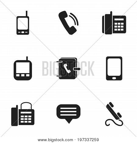 Set Of 9 Editable Device Icons. Includes Symbols Such As Phone, Office Telephone, Radio Talkie And More