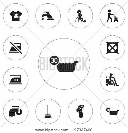 Set Of 12 Editable Cleaning Icons. Includes Symbols Such As No Laundry, Cold Water, Smoothing And More
