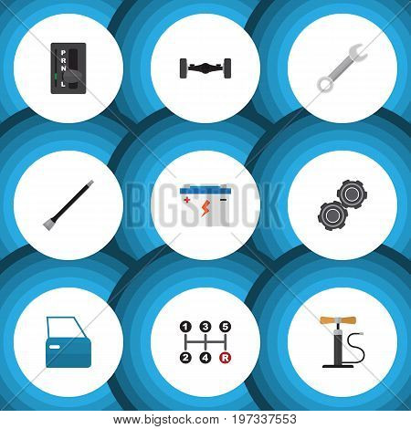 Flat Icon Service Set Of Automobile Part, Automatic Transmission, Belt And Other Vector Objects