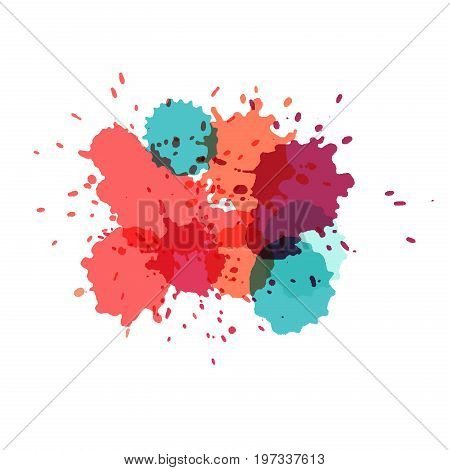 Watercolor splashes. Paint vector splat. Stains grunge texture. Isolated on white background. Pink purple blue and turquoise colors