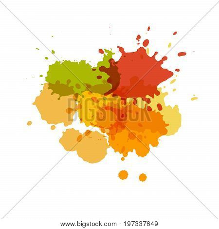 Watercolor splashes. Paint vector splat. Stains grunge texture. Isolated on white background. Orange yellow and green colors
