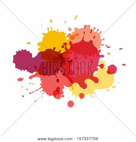 Watercolor splashes. Paint vector splat. Stains grunge texture. Isolated on white background. Pink yellow purple and red colors
