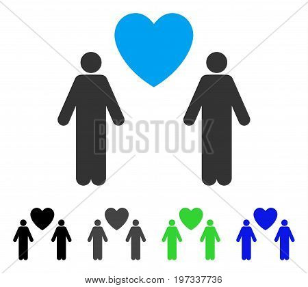 Gay Lovers flat vector illustration. Colored gay lovers gray, black, blue, green pictogram variants. Flat icon style for application design.