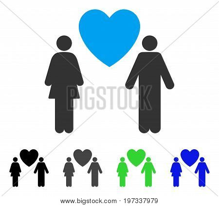 Love Couple flat vector illustration. Colored love couple gray, black, blue, green pictogram variants. Flat icon style for web design.