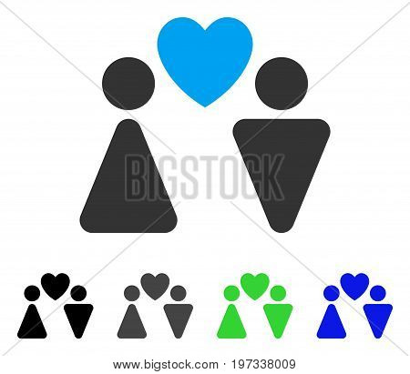 Love Couple flat vector pictogram. Colored love couple gray, black, blue, green icon versions. Flat icon style for application design.