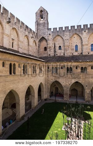 The Pope`s Palace Courtyard, Avignon, Provence, France