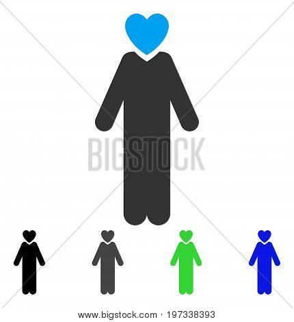 Lover Man flat vector pictogram. Colored lover man gray, black, blue, green pictogram variants. Flat icon style for graphic design.